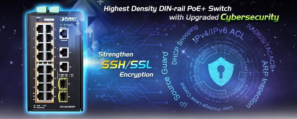 DIN-rail PoE+ Switch